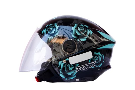 Capacete Aberto New Liberty 3 Floral Azul Pro Tork - 56