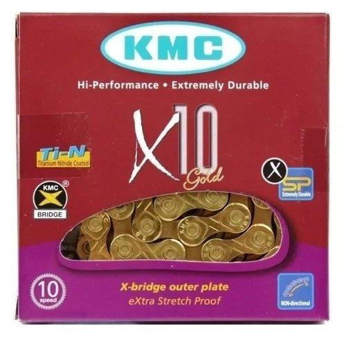 CORRENTE KMC 10 VELOCIDADES GOLD X-10 TI-N DOURADO 116L