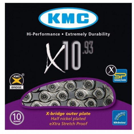CORRENTE KMC 10 VELOCIDADES X-10 SILVER/GRAY 116L